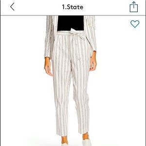1.State Striped tie waist Tapered leg pant